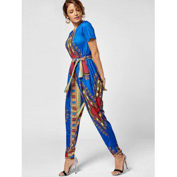 Tribe Print Combinaison Belted - Royal XL