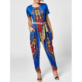 Tribe Print Belted Jumpsuit - ROYAL L