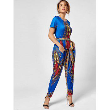 Tribe Print Belted Jumpsuit - M M
