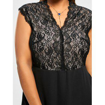 Plus Size Lace Trim V Neck Dress - BLACK XL