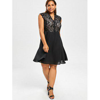 Plus Size Lace Trim V Neck Dress - BLACK 3XL