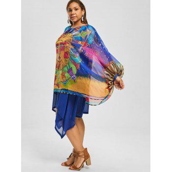 Asymmetric Printed Chiffon Plus Size Dress - BLUE BLUE