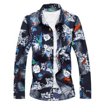 Birds and Flowers Print Plus Size Hawaiian Shirt