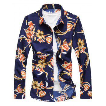 Plus Size 3D Flowers Print Long Sleeve Hawaiian Shirt