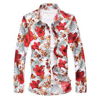 Plus Size Flowers and Leaves Print Long Sleeve Shirt