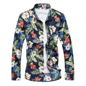 Plus Size 3D Flowers and Leaves Print Long Sleeve Shirt