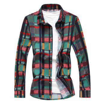Button Up Colorful Plaids Long Sleeves Shirt