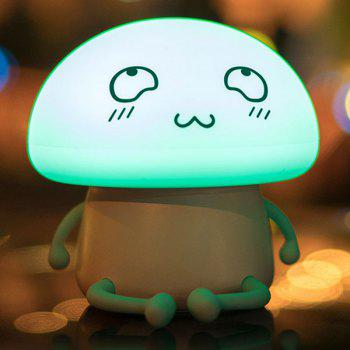 Lumière de nuit ronde rechargeable LED Cartoon Cartoon Mushroom - Bleu clair