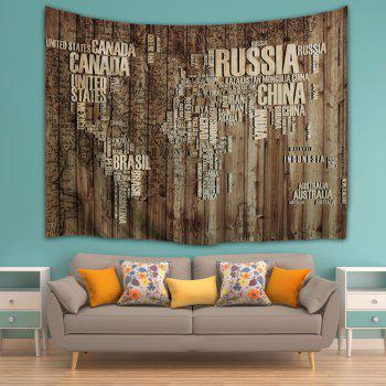 Wall Hanging Vintage Plank Map Throw Tapestry - BROWN W51 INCH * L59 INCH