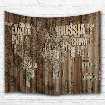 Wall Hanging Vintage Plank Map Throw Tapestry - BROWN W59 INCH * L59 INCH