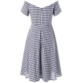 Plus Size V Neck Gingham Swing Dress - CHECKED 2XL