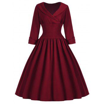 Vintage Women's Turn-Down Collar 3/4 Sleeve Slimming Dress