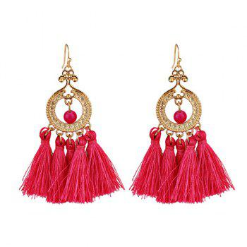 Vintage Beads Tassel Circle Drop Earrings