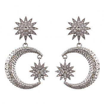 Rhinestoned Sun Moon Drop Earrings