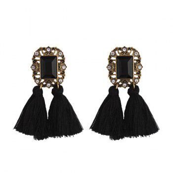 Vintage Rhinestone Tassel Engraved Earrings
