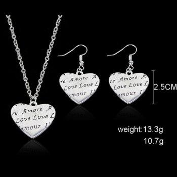 Heart Engraved Love Necklace and Earring Set - SILVER