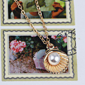 Collier Faux Pearl Shell Collarbone Pendentif - Or