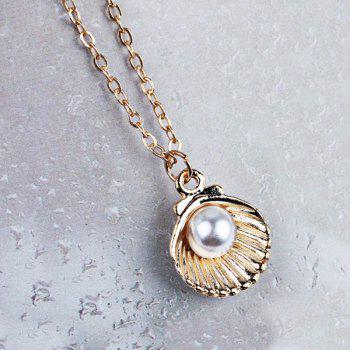 Faux Pearl Shell Collarbone Pendant Necklace