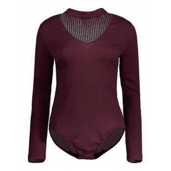 Cut Out Long Sleeve Fitted Choker Bodysuit - BURGUNDY M