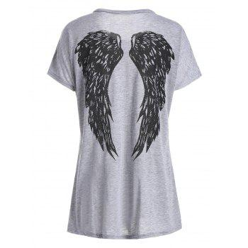 Casual Women's Scoop Neck Wing Pattern Loose-Fitting T-Shirt - LIGHT GRAY LIGHT GRAY