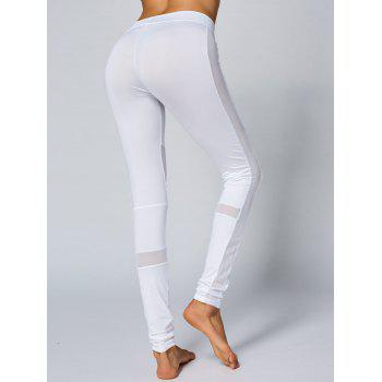 Mesh Panel Skinny Yoga Leggings - WHITE XL