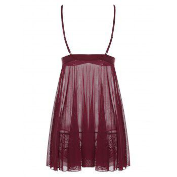 Mesh Embroidered Slip Babydoll - WINE RED L