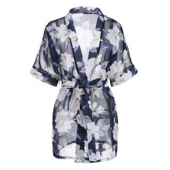 Chiffon Floral Sheer Robe with Belt