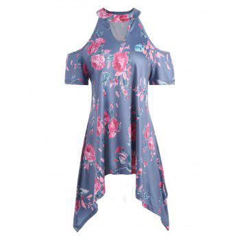 Cold Shoulder Rose Print Asymmetrical Tunic Top