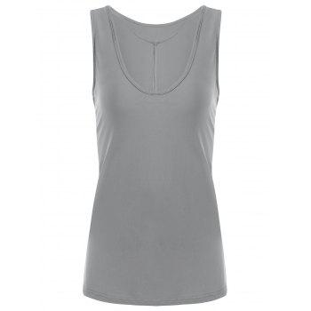 Y-strap Casual Tank Top - GRAY 2XL