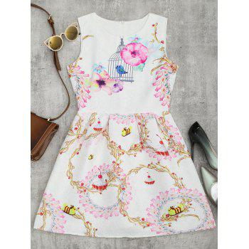 A Line Floral Print Sleeveless Mini Dress - WHITE L