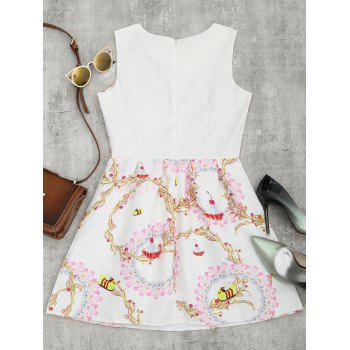 A Line Floral Print Sleeveless Mini Dress - WHITE WHITE