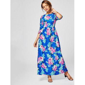 Bohemian Floral Print Maxi Long Dress - XL XL