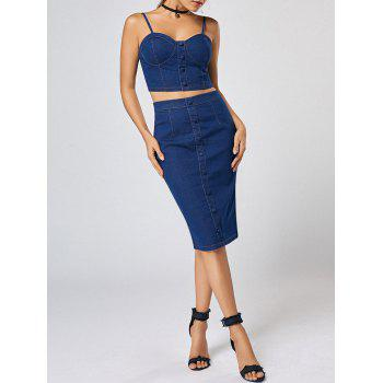 Buttoned Denim Cami Top and Bodycon Skirt Set