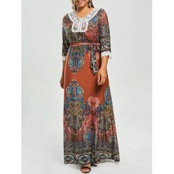 Printed Plus Size Gypsy Maxi Dress with Sleeves