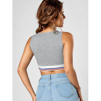 Sleeveless Striped Panel Crop Top - S S