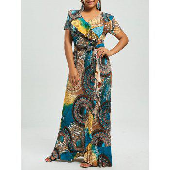 Print Plus Size Ruffle Maxi Bohemian Dress