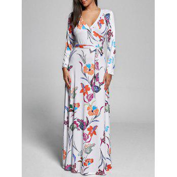 Floral Floor Length Long Sleeve Dress