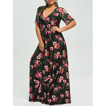 Plus Size Floral V Neck Maxi Bohemian Dress
