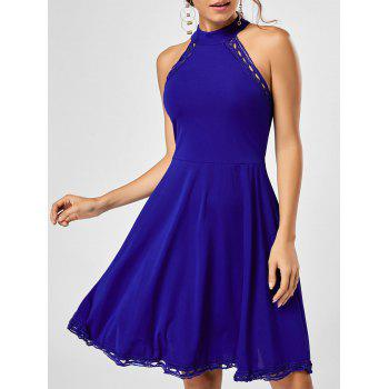 Mock Neck A Line Lace Trim Dress - BLUE XL