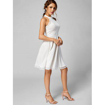 Mock Neck A Line Lace Trim Dress - Blanc XL