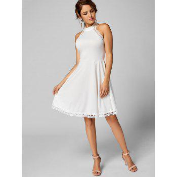 Mock Neck A Line Lace Trim Dress - L L