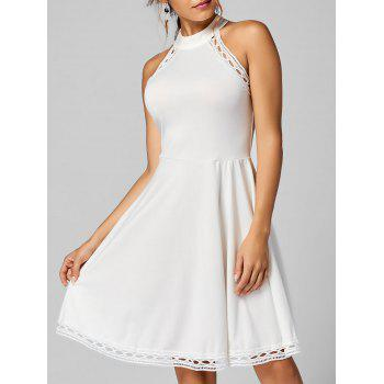 Mock Neck A Line Lace Trim Dress - WHITE L