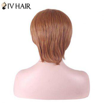 Siv Hair Inclined Bang Short Straight Human Hair Wig -  AUBURN BROWN