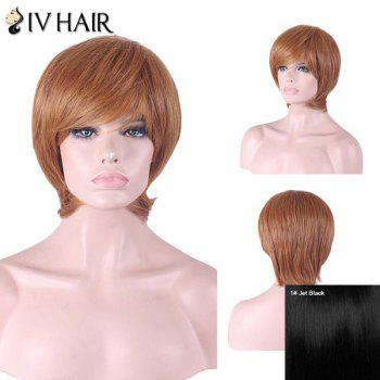 Siv Hair Inclined Bang Short Straight Human Hair Wig - JET BLACK #01 JET BLACK