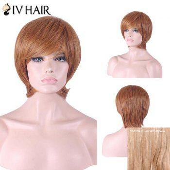 Siv Hair Inclined Bang Short Straight Human Hair Wig - BROWN WITH BLONDE BROWN/BLONDE