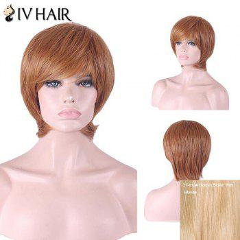 Siv Hair Inclined Bang Short Straight Human Hair Wig - GOLDEN BROWN WITH BLONDE GOLDEN BROWN/BLONDE