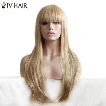 Siv Hair Full Bang Layered Straight Long Human Hair Wig - BLONDE