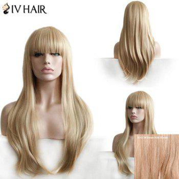 Siv Hair Full Bang Layered Straight Long Human Hair Wig - BROWN WITH BLONDE BROWN/BLONDE