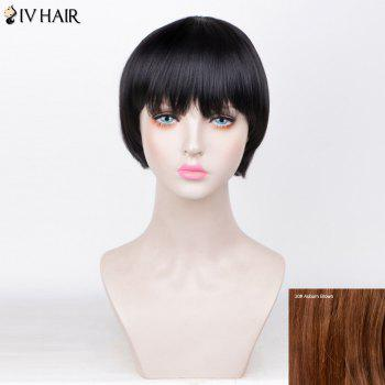 Siv Hair Straight Full Fringe Short Bob Human Hair Wig - AUBURN BROWN #30 AUBURN BROWN