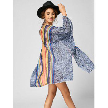 Tribal Print Chiffon Beach Cover Up - COLORMIX S